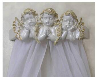 Angels room decor,Crib canopy, nursery angels, Christian baby nursery decor, wall angels