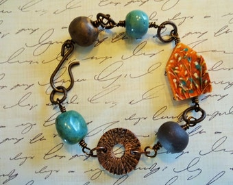Hand Wired Antique Brass Bracelet with Humblebeads House Focal
