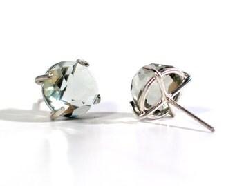 Rose Cut Green Amethyst (prasolite)  Post Earrings