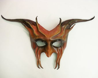 Leather Devil Mask  Krampus Baphomet Pan Satyr by Teonova