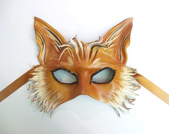 READY TO SHIP Leather Fox Mask costume fox art