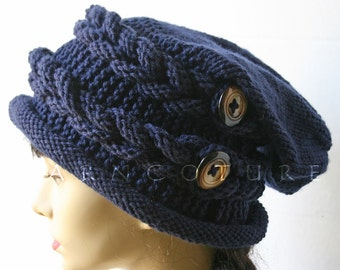 Urban Rapunzel / Winter Hat w/Slouch And Satin Lining Option -  Braided Knit Hat - Fiber Art Design  - Hand Knit Hat / YOU Choose The Colors