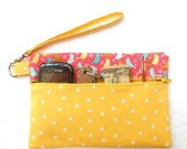 Yellow Polka Dot Wristlet, Bird Print Wallet, Zipper Phone Clutch, Ladies Small Purse, Makeup or Camera Clutch Bag, Small Zipper Pouch