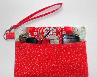 Floral Orange Wristlet, Turquoise Flowers Clutch, Makeup or Phone Holder, Suzani Print Wallet, Small Front Zippered Purse, Camera Zip Bag