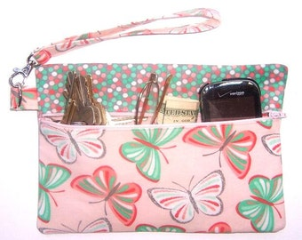 Pink Butterflies Phone Wristlet, Cell Phone Wallet, Polka Dot Clutch, Makeup Pouch, Pink Turquoise Gadget or Camera Bag, Bridesmaid Gift