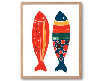 Kids Room decor, Fish Art Print - Red & Navy - Kitchen decor, Kitchen wall art, Nursery decor, Fish Illustration