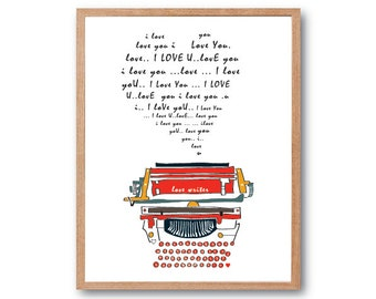 LOVE LETTER, Colorful Typewriter Art Print - Typography Print, Love Sign, home decor, decorative art