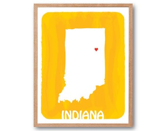 INDIANA Map - Mango Yellow - Personalized Custom Color Watercolor Style State Map Wedding Birthday Anniversary GIft Children Kids Wall Art