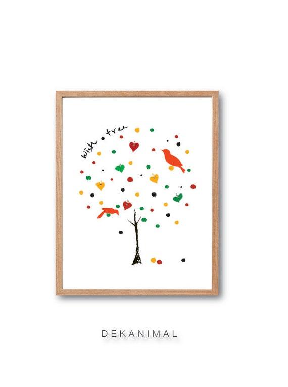 Wish Tree Art Print - Illustration Animal Birds Dreams come true Children decor, Kids Room, Wedding Birthday Anniversary Gifts