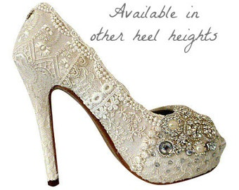 Vintage Lace Wedding Shoes .. 5 inch heel ..Bridal High Heels ..Lacy Bridal Shoes ...Crystals and Pearls .. Free US postage