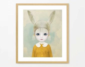 Cute rabbit girl art, anthro print, surreal rabbit, bunny art, nursery art, rabbit painting, yellow art, 10x8, big eyes, lowbrow girl, bunny