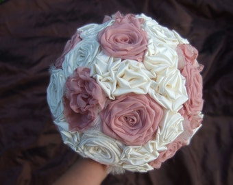 Pale Pink and Ivory Fabric Wedding Bouquet Set