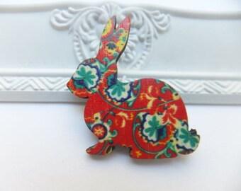 Red Vintage Floral Wooden Rabbit Brooch