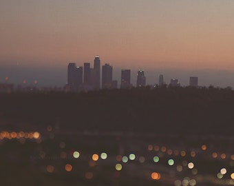 downtown LA skyline photo, bokeh photography, Los Angeles art, sunset, amber, California wall art, DTLA print, night, loft decor, photograph