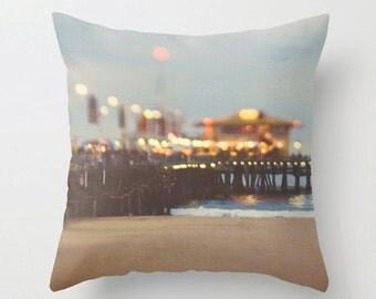 throw pillow cover, decorative beach pillow case, abstract bokeh, Santa Monica pier photo, blue, gold, brown 18x18