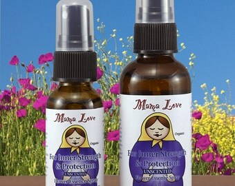 Inner Strength and Protection, Caregiving, Flower Essence Spray, Bach Flower, Unscented Organic Reiki-Infused Body and Aura Spray
