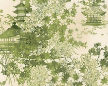 Robert Kaufman Imperial Collection Metallic 12 15940 7 Green Oriental Scenery By The Yard