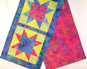 Batik Star Patchwork Table Runner - Party Time