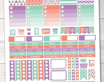 Instant Download Printable Planner Stickers Weekly Kit in Orange Purple & Aqua Blue