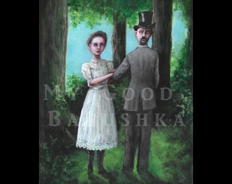The Lady Agnes and the Inverted Gentleman, Original Painting, Forest, Fairy Tale, Folk Tale, Surreal, Weird Art, Odd, Fantasy, Woods,