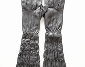 Long Grey Leather Ruched Elbow Gloves size 7
