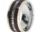 Men's Dinosaur Bone Wedding Ring, Damascus Steel and Dinosaur Bone Wedding band for Men