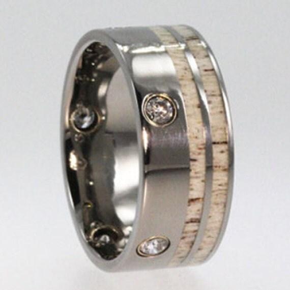 Titanium Wedding Band for Men, Deer Antler Ring with 5 Flush Set Diamonds in Yellow Gold