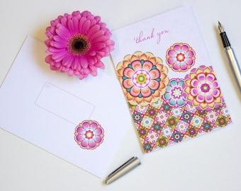 Thank You Greeting Card / Greeting Card with Matching Envelope / Single Card / Diane Kappa