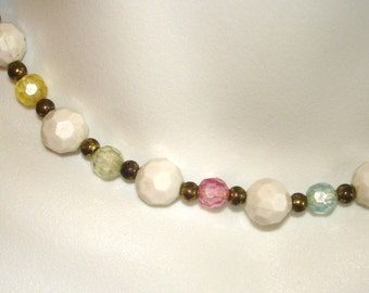 vintage colorful faceted beads brass tone choker necklace