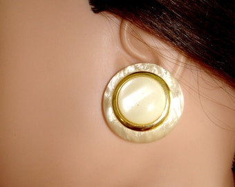 vintage faux mother of pearl and gold button pierced earrings