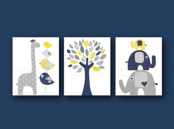 Navy Blue Yellow And Gray Nursery Art Print Baby By