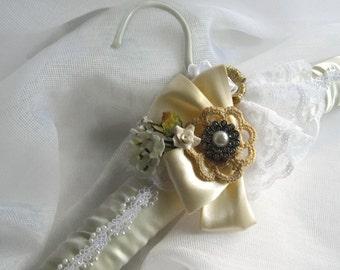Keepsake Bridal Gown Hanger Vintage Inspired One of a Kind Cream and White Satin Lace Rhinestones Ribbon Roses Crochet Handmade handcraftusa