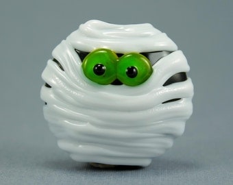 Made to Order, Halloween Beads, Lampwork Glass Bead, Mummy Pendant, Green Eyes, Jewelry Supplies, Donna Trull