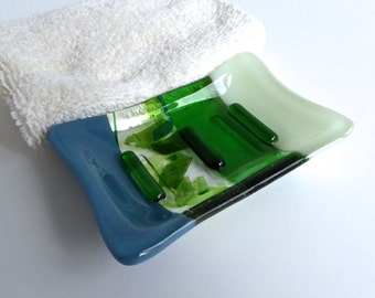 Fused Glass Soap Dish in Blues and Greens by BPRDesigns