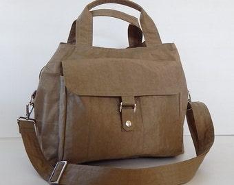 Sale - Water Resistant Nylon Bag - Messenger, Diaper, handbag, Tote, Purse, 3 compartments, Cross body - GINA