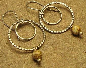Picture Jasper Beaded Double Round Hoop Sterling Silver Dangle Earrings, Sterling Silver Hoops, Picture Jasper Earrings