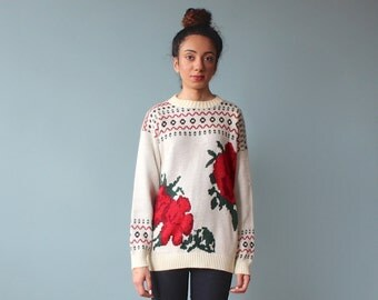floral sweater / oversize rose print jumper / 1980s / small - medium