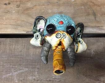 Elephant sculpture, wall hanging, ceramic mask