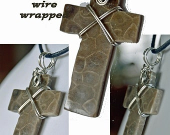 Beautiful large  natural genuine petoskey stone cross your choice pendant necklace clergy minister priest nun  gift Michigan state stone