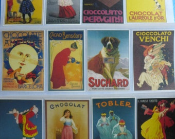 Vintage Chocolate Poster Art Stickers