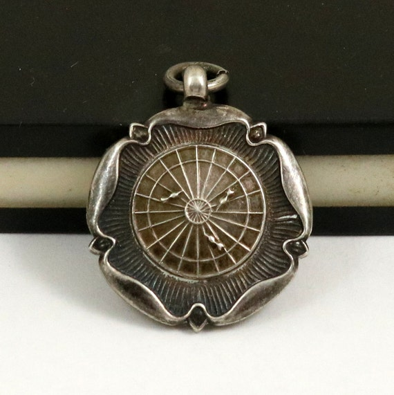 Vintage Darts Watch Fob Medal Pendant, Sterling Silver