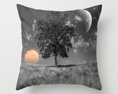 Night and Day Throw Pillow, Surreal Pillow, 16x16, 18x18, 20x20, Sun Moon Pillow, Decorative, Nature, Cushion, Night Sky, Whimsical, Stars