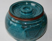 Ceramic Jar with Lid Deep Turquoise Glaze  Five inches High Cookie Jar Hand thrown One of a Kind Stoneware Eight Cups