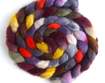 BFL Wool Roving - Hand Painted Spinning or Felting Fiber, Lights in the Dark