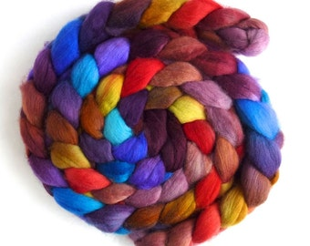 Organic Polwarth Roving - Handpainted Spinning or Felting Fiber, Summer Bouquet