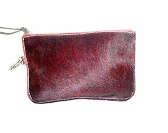 Clutch, cosmetic bag , top zip pouch , vintage , handmade in USA hair on cow hide rich burgandy  with side key hook