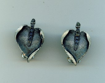 Vintage Black Leaf Earrings