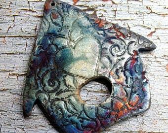 Wondrousstrange Raku Large Birdhouse Ornament Tessellate