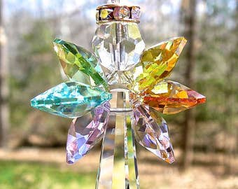 """Car Crystal Angel Suncatcher with Pastel Wings, Angel For Car or Home, Entirely Swarovski, Guardian Angel, Memorial Gift - """"SPIRIT"""""""