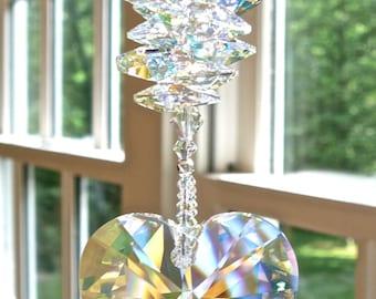 "Swarovski Crystal Heart Sun Catcher, Window Ornament, Aurora Borealis Prism and Octagons - Glistens in Low Light - ""LYRIC AB"""